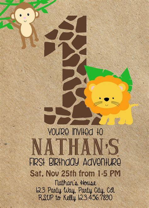 safari jungle invitation boy s 1st birthday invite custom