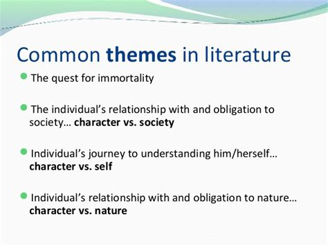 universal themes in literature exles theme symbols and motifs