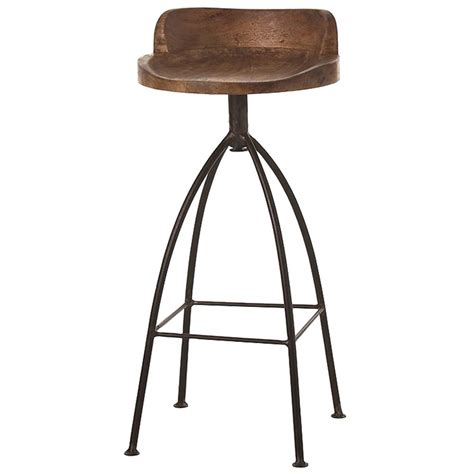 wood swivel stool missoula industrial loft antique wood iron swivel bar