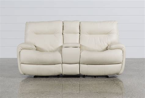 reclining loveseat w console oliver ivory power reclining loveseat w console living