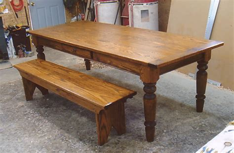 Bench Dining Set Oak Wood Farmhouse Table With Optional Drawer And Bench