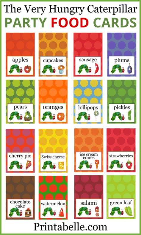 Gift Card Food - the very hungry caterpillar food cards party printables games