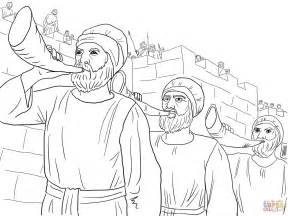 free bible coloring pages joshua joshua army marching around the jericho blowing trumpets