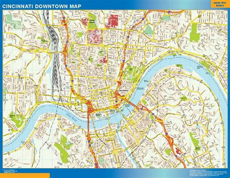 usa map cincinnati cincinnati downtown map netmaps usa wall maps shop