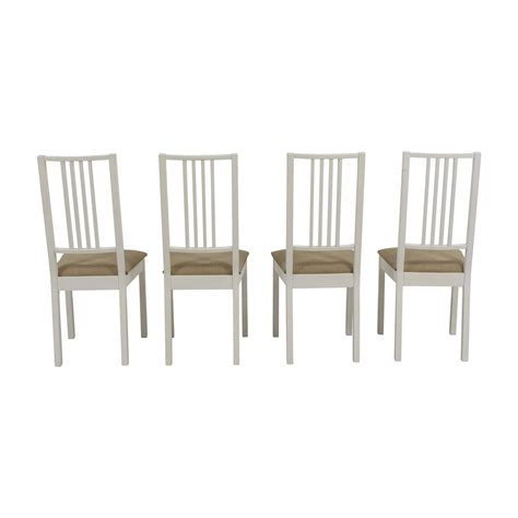 77 Off Ikea Ikea White With Tan Upholstered Dining Ikea White Dining Chairs