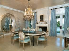 exceptional How To Decorate Dining Room Table #1: Fascinating-Dining-Room-Design-Using-Blue-Chairs-and-Windows-Curtain.jpg