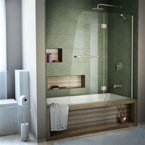 bath tub shower door dreamline aqua 48 in x 58 in semi framed pivot tub shower door in brushed nickel shdr 3148586