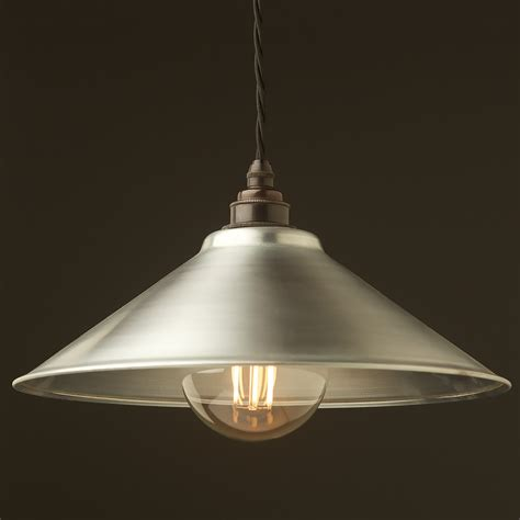 Steel Pendant Light Galvanised Steel Light Shade 310mm Pendant