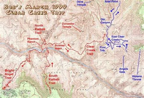 grand map south kaibab trail trip report south kaibab kaibab clear creek