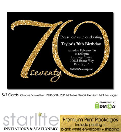Black Gold Glitter 70th Birthday Invitation Modern Number Starlite Printables Unique 70th Birthday Invitation Templates