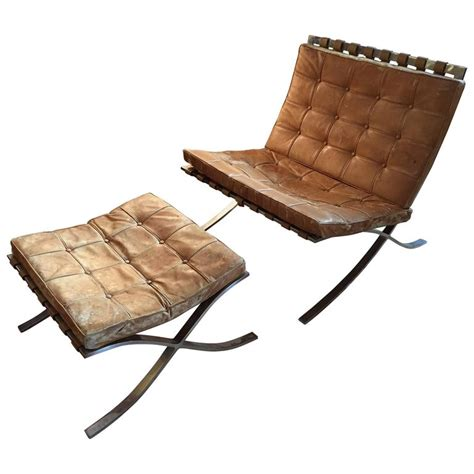 Early Ludwig Mies Van Der Rohe Barcelona Chair With Barcelona Chair And Ottoman