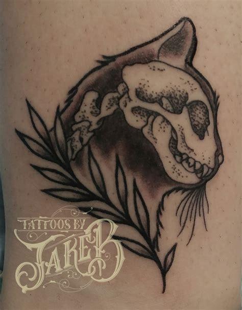 black and grey cat skull tattoo tattoos by jake b