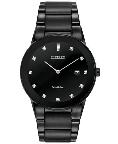 Citizen Men's Eco drive Axiom Diamond Accent Black Ion plated Stainless Steel Bracelet Watch