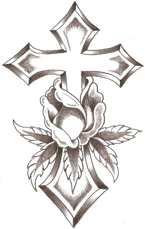 coloring pages of roses and crosses drawings of roses and crosses clipart best