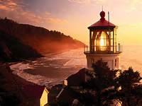 Heceta Head Lighthouse At Sunset  Oregon