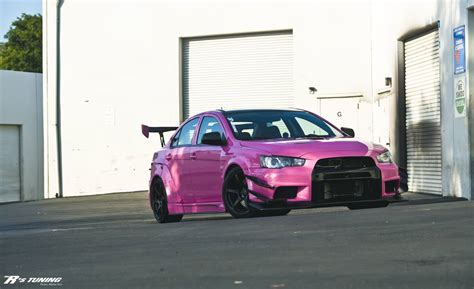 mitsubishi pink okay another varis widebody evo x but pink evolutionm