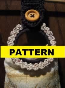 Kitchen Cabinet Towel Holder crochet pattern button towel ring pattern by