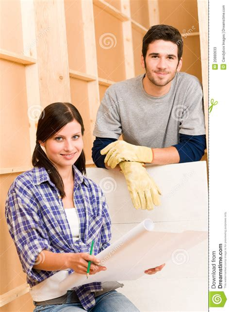 home improvement with blueprints stock photos