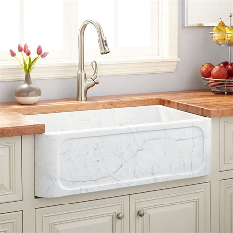 Marble Kitchen Sink 30 Quot Polished Marble Farmhouse Sink Recessed Apron