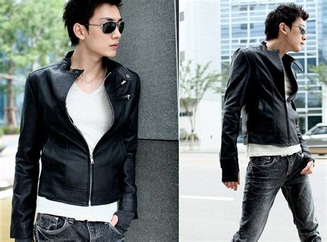 G Ci Lonjong Leather Kulit ciki house new slim korean leather black jacket