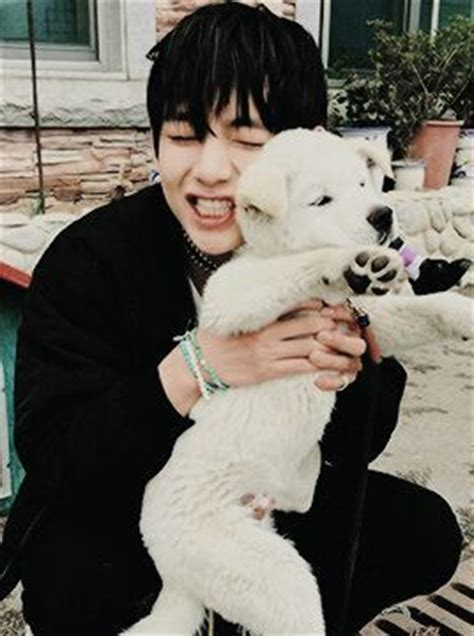 kim namjoon dog taehyung with dogs and cats k pop amino