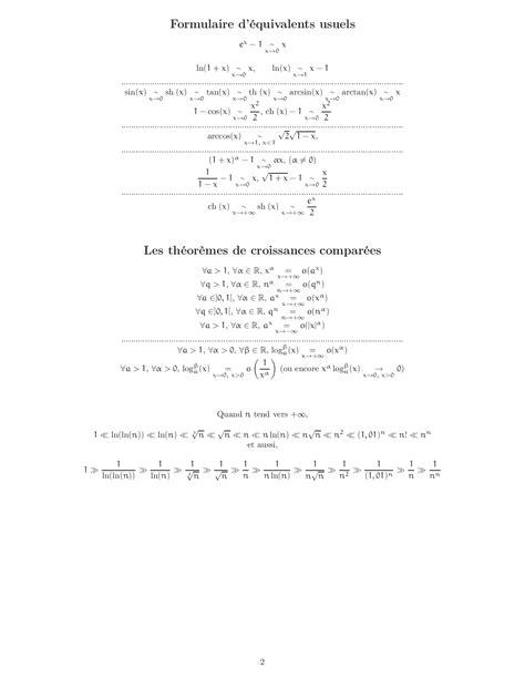 Formulaire (Développements limités, Equivalents usuels et