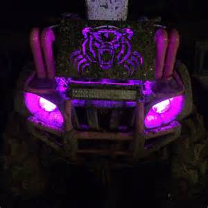 Four Lights My Pink Amp Black Yamaha Grizzly Atv 4 Wheeler With Pink Led