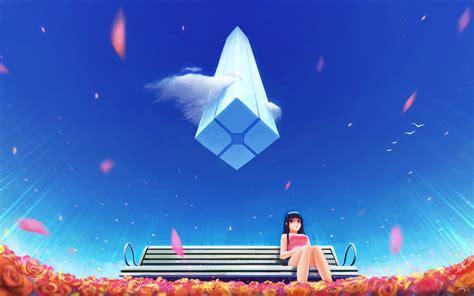 wallpaper anime girl alone anime girl alone bench blue sky 4k wallpapers hd