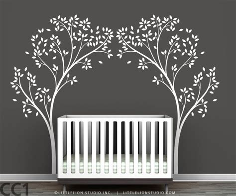 Crib Tree by Tree Canopy Portal Wall Sticker Two Symmetrical Tree