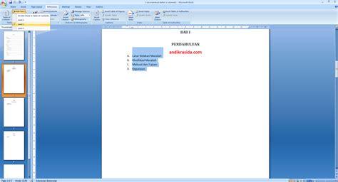 cara membuat daftar isi otomatis di office 2007 cara mudah membuat daftar isi dengan automatic table pada