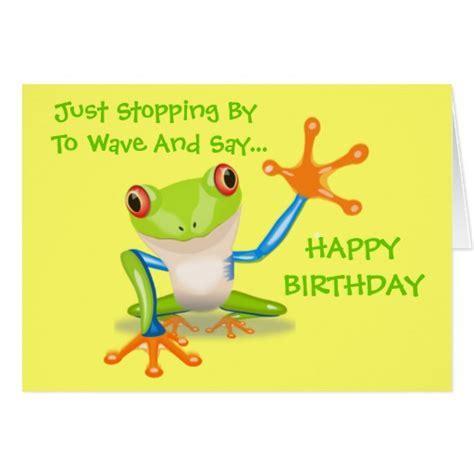Cute Frog Funny Animal Kids Happy Birthday Card   Zazzle