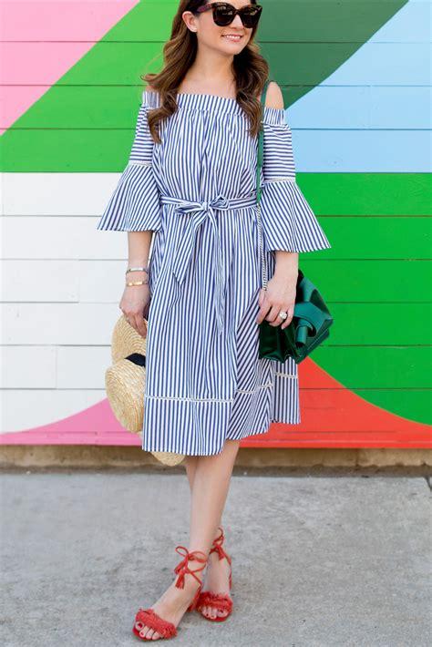 White Stripe Shoulder Dress shoulder stripe dress