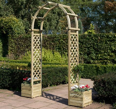 Garden Arch With Planters by Rowlinson Freestanding Curved Garden Arch With Planters