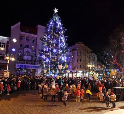 ukrain net on christmas tree ivano frankivsk ukraine december 19 2014 lighting of the tree stock