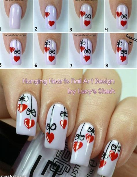 nail art design tutorial painting 15 easy step by step valentine s day nail art tutorials
