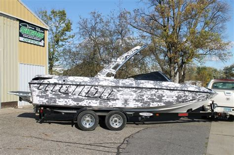 ski boat wrap ideas digital snow camouflage wrap malibu boat wrap wake and