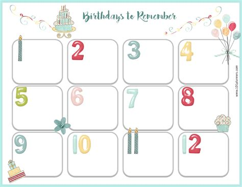 Birthday Calendars Templates Free by Free Birthday Calendar