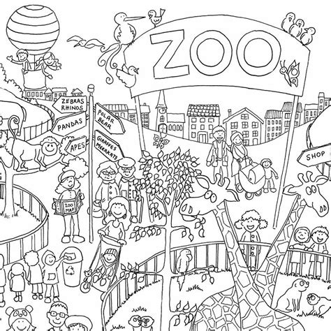 zoo colouring in poster by really giant posters