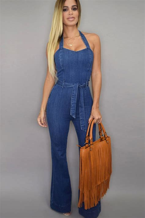 blue halter sleeveless high waist denim jumpsuit