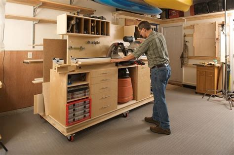 woodworking workshop designs lumber storage and miter station mitre saw station