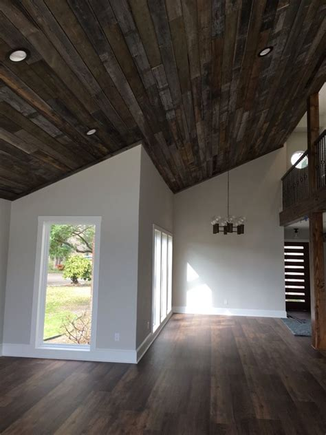 wood plank ceiling slotted front door and coretec plus