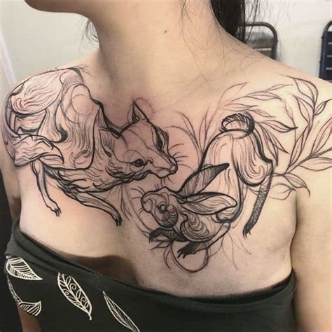 womens sternum tattoo 30 chest tattoos for that draw approving ritely