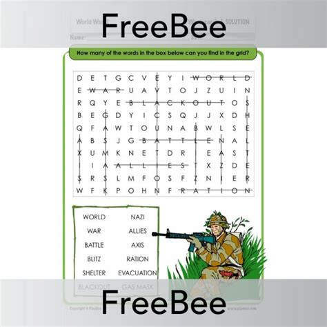 World War 2 Search World War 2 Word Search Planbee Freebees