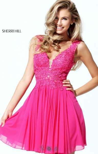 sherri hill  short lace swing dress prom dress