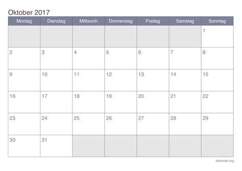 Oktober Kalender 2017 Kalender Oktober 2017 Zum Ausdrucken Ikalender Org