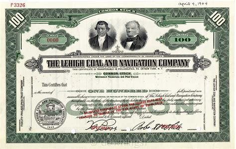 stock photo company file lehigh coal and navigation company stock certificate