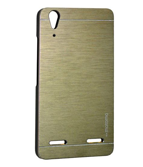 sec motomo brushed metal back cover for lenovo a6000 plus gold plain back covers