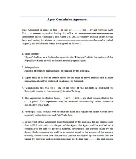 commission agreement template agreement templates 31 free word pdf documents