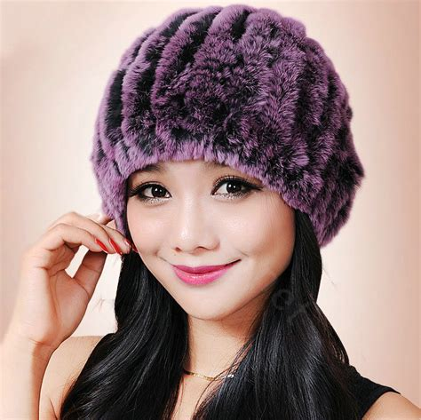 Handmade Fur Hats - buy wholesale knitted rex rabbit fur hats thicker