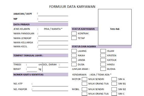 format biodata karyawan contoh form penerimaan karyawan
